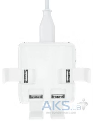 Зарядное устройство NICHOSI 4 port USB charger adapter 4x1A White