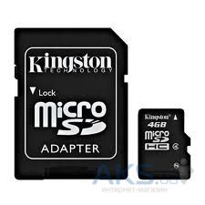Карта памяти Kingston 4GB MicroSDHC Class 4 + SD Adapter (SDC4/4GB)