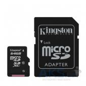 Вид 2 - Карта памяти Kingston 64GB microSDXC Class 10 UHS-I R90/W45MB/s + SD Adapter (SDCA10/64GB)