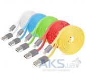 USB кабель (usb шнур) Yoobao Colourful iPhone 5 flat cable YB-406 (YB406-80cm-RD) Red