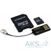 Карта памяти Kingston 32GB MicroSDHC Class 10 + SD adapter + USB reader (MBLY10G2/32GB)