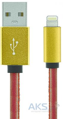 Кабель USB Gelius Leather Edition Lightning cable Brown / Gold