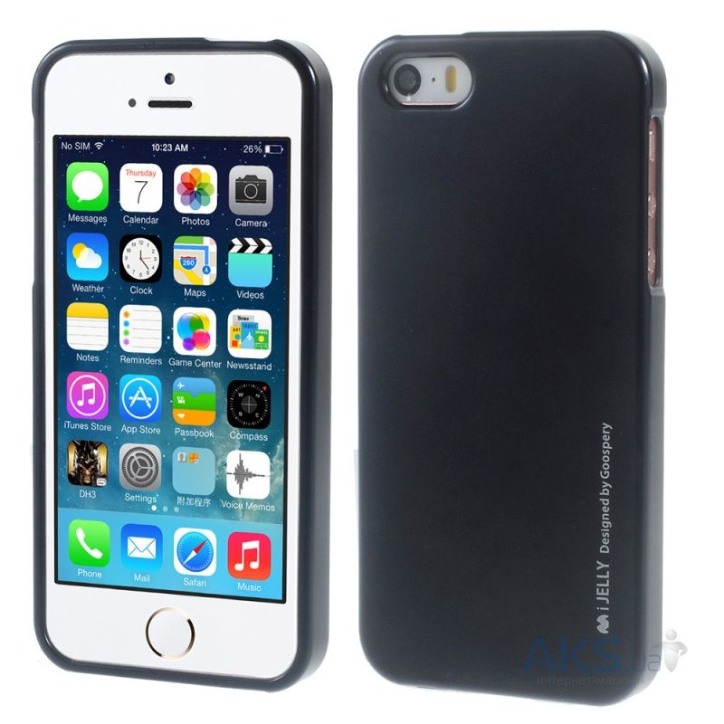 Чехол Mercury TPU Jelly Metal Series Apple iPhone 5, iPhone 5S Black