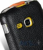 Вид 3 - Чехол Melkco Jacka special leather case for Samsung S6500 Galaxy Mini 2 Black / Orange