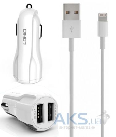Зарядное устройство LDNio Double USB Car Charger + Lightning Cable White (C331 / DL-C331)