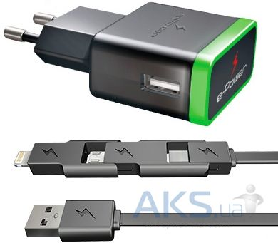 Зарядное устройство E-Power USB Home Charger (2.1A) + mini USB/micro USB/Lightning cable Black (EP722HAS)