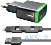 Зарядное устройство E-Power USB Home Charger (2.1A) + miniUSB/microUSB/Lightning cable Black (EP722HAS)