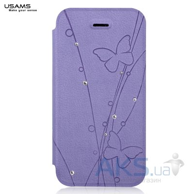 Чехол Usams Book case Batterfly for iPhone 5C Violet