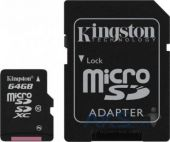 Вид 1 - Карта памяти Kingston 64GB microSDXC class 10 UHS-1 + SD Adapter (SDCX10/64GB)