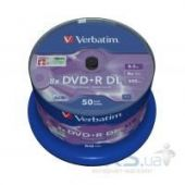 Диск Verbatim DVD+R  8.5Gb 8X CakeBox 50 шт MATT SILVER SURFACE (43758)