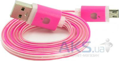 Кабель USB NICHOSI Cable LED-Flat MicroUSB (Apple Style) Pink