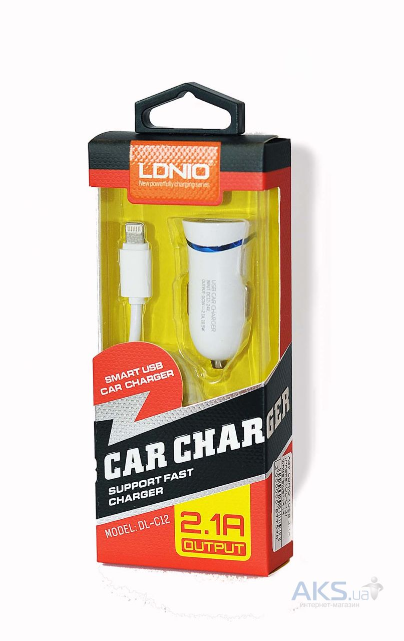 Зарядное устройство LDNio Car Charger 2.1A + Lightning Cable White-blue (DL-C12)