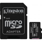 Карта памяти Kingston microSDXC 64GB Canvas Select Plus Class 10 UHS-I U1 V10 A1 + SD-адаптер (SDCS2/64GB)