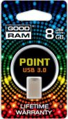 Флешка GooDRam POINT 8 GB Silver USB 3.0 RETAIL 10 (PD8GH3GRPOSR10) Grey