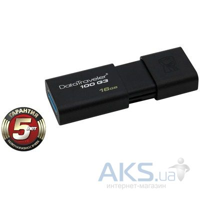 Флешка Kingston 16Gb DataTraveler 100 Generation 3 USB3.0 (DT100G3/16GB) Black
