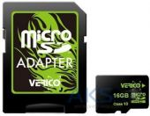 Карта памяти Verico 16GB MicroSDHC Class 10 + SD Adapter (VFE3-16G-V1E)