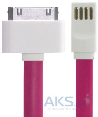Кабель USB Gelius Gold Edition Flat iPhone 4 Pink