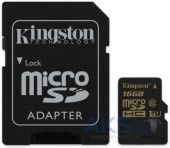Карта памяти Kingston 16Gb microSDHC Class 10 UHS-I (R90/W45MB/s) + SD Adapter (SDCA10/16GB)