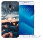 Чохол 1TOUCH Print Case Meizu M5 Note Cloud Gray + Tempered Glass