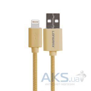Кабель USB GOLF Lonsmax Lightning Fabric Plastic Gold