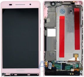 Дисплей (экраны) для телефона Huawei Ascend P6-U06 + Touchscreen with frame Original Pink
