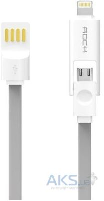 Кабель USB Rock Micro-Lightning Combo Cable 1M Grey