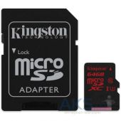 Карта памяти Kingston 64GB microSDXC Class 10 UHS-I U3 (SDCA3/64GB)pter (SDCA3/64GB)