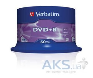 Диск Verbatim DVD+R  4.7Gb 16X CakeBox 50 шт (43550)