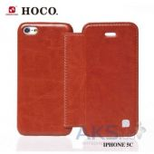 Вид 5 - Чехол Hoco Crystal book leather case for iPhone 5C Brown (HI-L038)