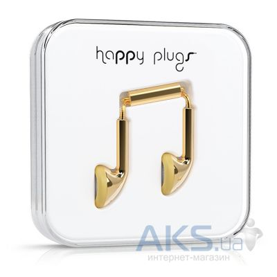 Наушники (гарнитура) Happy Plugs Headphones Deluxe Edition Earbud Gold