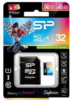 Карта памяти Silicon Power 32GB microSDHC Class 10 UHS-I Superior COLOR + SD Adapter (SP032GBSTHDU1V20SP)