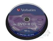 Диск Verbatim DVD+R  8.5Gb 8x CakeBox 10 шт Matte Silver (43666)