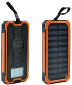 Внешний аккумулятор power bank MANGO Solar LED 2USB 15000 mAh Black-orange