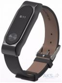 Mijobs Leather Band for Xiaomi Mi Band 2 Black