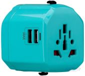 Зарядное устройство Momax 1 World USB Travel Adapter AC port (UK/EU/US/JP/CN/AU) Blue (UA1B2)