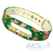 Xiaomi Mi Band ремешок Elegant series Flowers on Dark Green