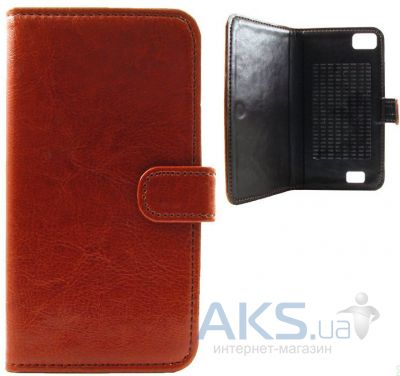 Чехол Book Cover Sticker for Fly IQ4406 Brown