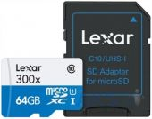 Карта памяти Lexar Micro SDHC 64GB 300x UHS-I C10 High-Performance + SD-адаптер (LSDMI64GB1EU300A)
