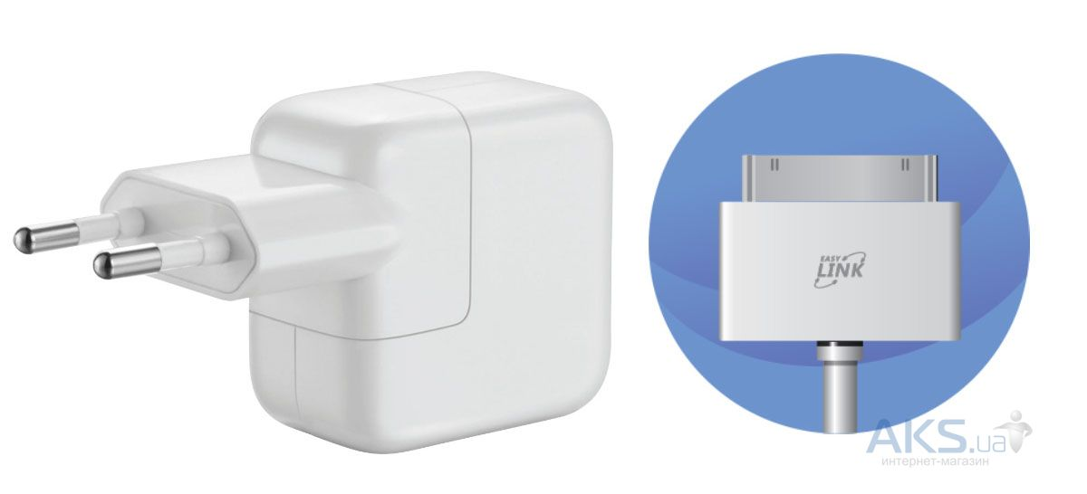 Зарядка для планшета EasyLink EL-295 Hi Speed 2.1A Charger + Dock Cable (30-pin) White (228807)