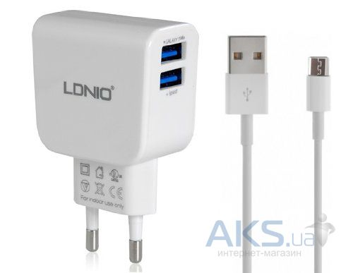Зарядное устройство LDNio 2USB 2.1A + Micro USB Cable White (DL-AC56)