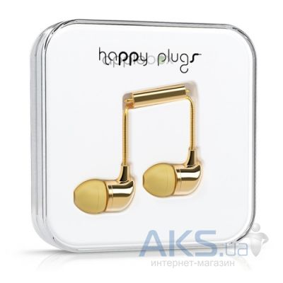 Наушники (гарнитура) Happy Plugs Headphones Deluxe Edition In-Ear Gold