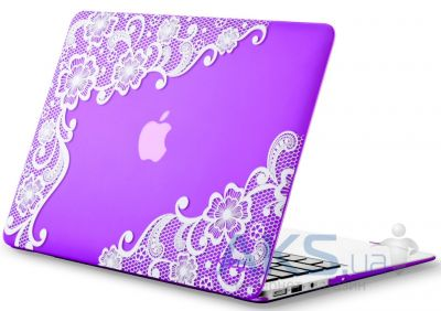 Чехол Kuzy Lace Print Rubberized Case for MacBook Air 13 Purple