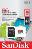 Карта памяти SanDisk 16GB microSDHC Class 10 Ultra UHS-I (48MB/s) Android + SD Adapter (SDSDQUAN-016G-G4A)