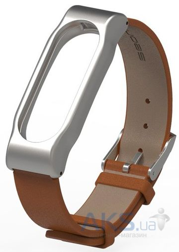 Mijobs Leather Band for Xiaomi MiBand 2 Brown