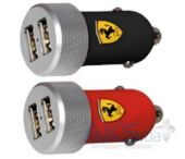 Вид 3 - Зарядное устройство Ferrari 2-USB Car Charger 2.1A with Apple Connector 30-pin/Lightning Black (FERUCC2UPBL)