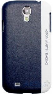 Чехол Aston Martin Racing back case for Samsung S4 with stripe metal logo Blue / White