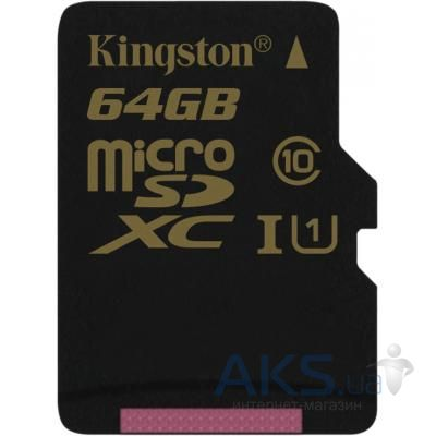 Карта памяти Kingston microSDXC 64 Gb UHS-I no ad U1 (SDCA10/64GBSP)