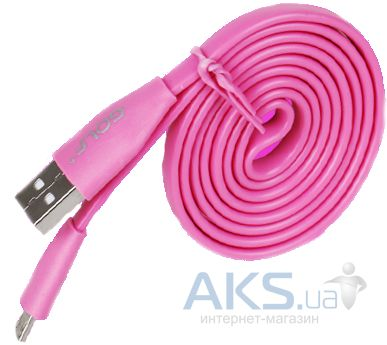 Кабель USB GOLF micro USB Flat Cable Pink