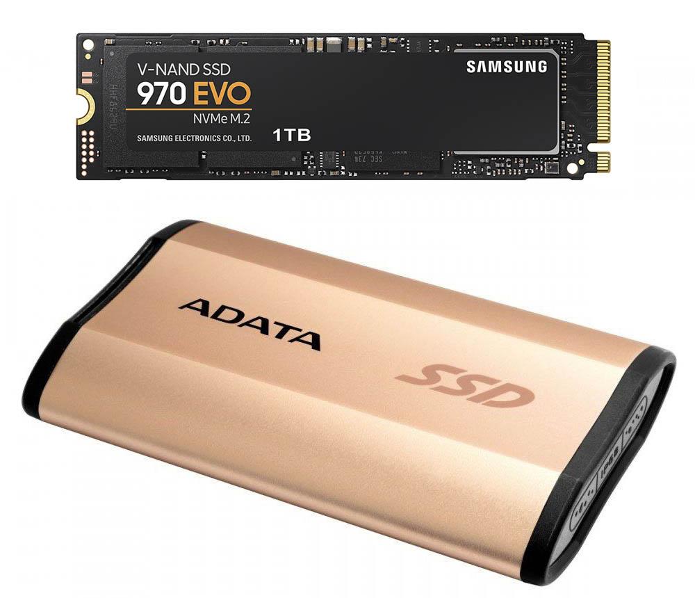 Внутренние накопители, такой как Samsung 1Tb 970 EVO, по сути - просто плата расширения. Внешний накопитель, например, производства ADATA - еще и стильный аксессуар.